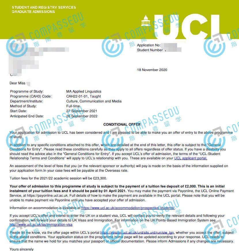 伦敦大学学院应用语言学文学硕士研究生offer一枚